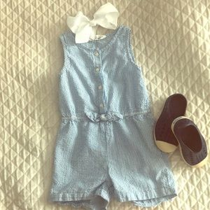 Seersucker Blue Kids Romper